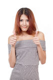 Smiling, positive, confident, beautiful woman giving thumb up Stock Photography