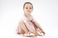 Smiling Positive Cute Caucasian Girl In Ballerina Clothing. Wearing Miniature Toes. Stock Image
