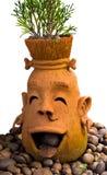 Smiling Pot. Clay Pot with Smiling Face Stock Photos