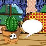 Smiling pot with cactus plant and speech bubble Royalty Free Stock Photography