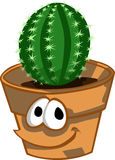Smiling pot with cactus plant Royalty Free Stock Image