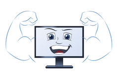 Smiling powerful computer Stock Photo