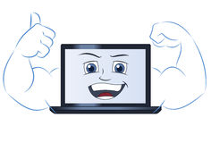 Smiling powerful laptop computer 2 Stock Photography