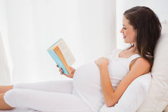 Smiling pregnancy reading in his bed Royalty Free Stock Photography