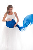 Smiling Pregnant Woman with Blue Veil Royalty Free Stock Image