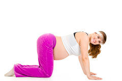 Smiling  pregnant woman doing fitness exercises. Smiling beautiful pregnant woman doing fitness exercises isolated on white Stock Image