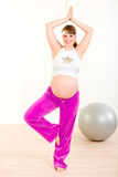 Smiling pregnant woman doing pilates exercises Royalty Free Stock Photos