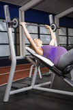 Smiling pregnant woman lifting barbell Stock Image