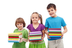 Smiling preschool and school kids with books Royalty Free Stock Photography