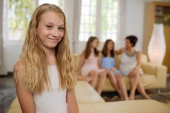 Smiling preteen girl. Portrait of smiling pretty preteen girl at home Royalty Free Stock Photos