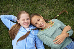 Smiling preteen girls Stock Photos