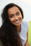 Smiling Pretty Asian Indian Woman with Long Hair Royalty Free Stock Image