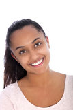 Smiling Pretty Asian Indian Woman on White Stock Photo