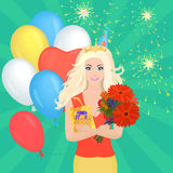 Smiling Pretty blond girl holding Gift Box and flowers. Birthday concept. Stock Images