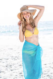 Smiling pretty blonde in bikini looking at camera. At the beach stock photography