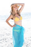 Smiling pretty blonde posing with sarong Royalty Free Stock Photography