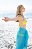 Smiling pretty blonde standing by the sea arms outstretched Stock Photography