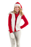 Smiling pretty blonde standing in warm clothes Royalty Free Stock Photography