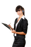 Smiling pretty business woman with headset. Stock Photography