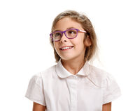 Smiling pretty girl in glasses. Portrait of cheerful smiling female pupil on white Stock Photography