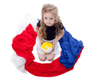 Smiling pretty girl posing with gymnastic items Royalty Free Stock Photography