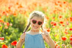 Little girl posing in a poppies Stock Photography