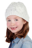 Smiling pretty girl with wool cap Stock Photos