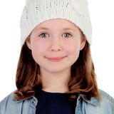 Smiling pretty girl with wool cap Royalty Free Stock Images