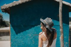 Artistic photo of young hipster traveler girl royalty free stock photos