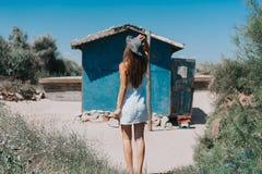 Artistic photo of young hipster traveler girl stock photos