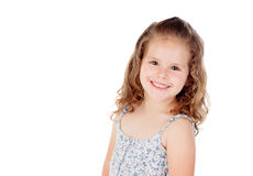Smiling pretty little girl with curly hai Royalty Free Stock Photos