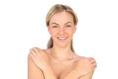 Smiling pretty nude blonde posing Royalty Free Stock Photos