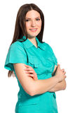 Smiling pretty nurse in uniform. Isolated on white background stock image