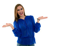 Smiling pretty woman. Pretty young woman with a blue shirt smiling Royalty Free Stock Images