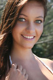 Smiling pretty woman stock images
