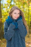 Smiling Pretty Woman in Autumn Outfit Portrait Royalty Free Stock Image