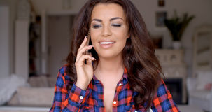 Smiling Pretty Woman Calling on Mobile Phone Stock Photos