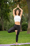 Smiling pretty woman doing yoga exercises Royalty Free Stock Photo