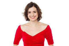Smiling pretty woman in fashionable red top Stock Photo