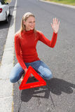 Smiling pretty woman hitch hiking Stock Photography