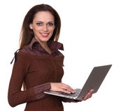 Smiling pretty woman use laptop computer. Isolated royalty free stock images