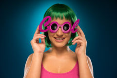 Smiling Pretty Young Lady Wearing Pink Cool Shades Royalty Free Stock Photography