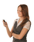 Smiling pretty young woman with mobile phone Stock Photography