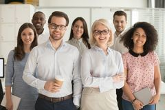 Smiling professional business leaders and employees group team portrait. Smiling professional business coaches leaders mentors posing together with diverse stock photography