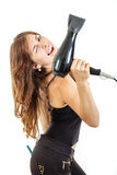 Smiling professional female hairdresser holding hairdryer Stock Images
