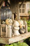 Smiling pumkin Helloween. In small wooden house Royalty Free Stock Photography