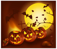 Smiling pumpkins with bats and moon. Vector. Smiling pumpkins with bats and moon Royalty Free Stock Image