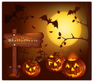 Smiling pumpkins with bats and moon. Vector. Smiling pumpkins with bats and moon Stock Photos