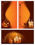 Smiling pumpkins and burning candles. Vector. Smiling pumpkins and burning candles Royalty Free Stock Photo