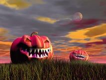 Smiling pumpkins for halloween - 3D render Royalty Free Stock Images